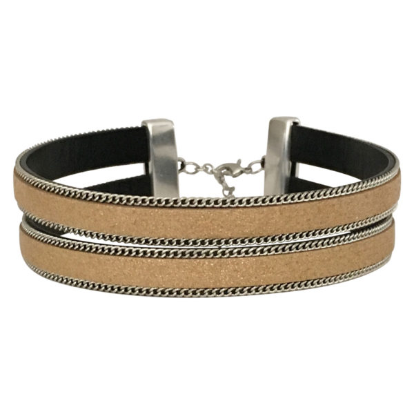 Double Layer Choker With Chain Border in Gold