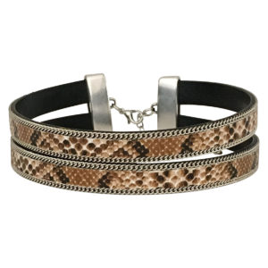 Double layer Choker With Chain Border in gold snake