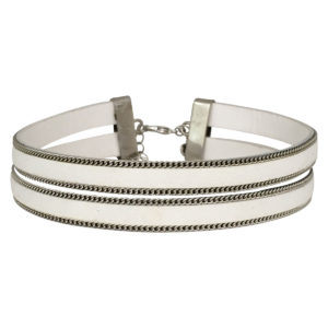 Double Layer Choker With Chain Border in White