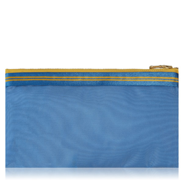 Lucky mini pouch in sky with blue and yellow stripes.