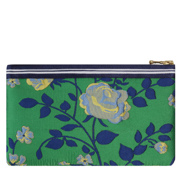 Lucky mini pouch in Green Floral with navy and white stripe